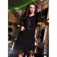 Платье женское теплое красивое черное 381 -7, магазин платьев