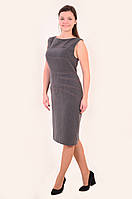 Платье-сарафан  женский , офисный. Пл 013-1, одежда для офиса , одежда для полной молодежи. S / 44 Светло-серый
