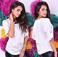Легкая белая  шелковая  блузочка с брошью. Арт-9303/41