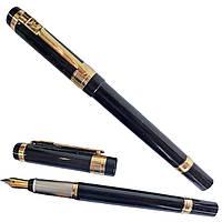 Ручка чернильная Черная ручка золотая оконтовка с логотипом