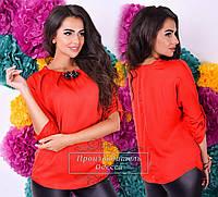 Легкая красная  шелковая  блузочка с брошью. Арт-9303/41