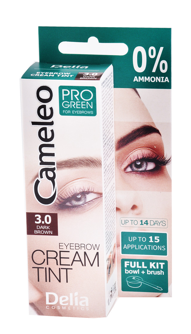 """Крем-краска для бровей """"Delia"""" Сameleo pro green №3.0 темно-коричневая (15ml)"""