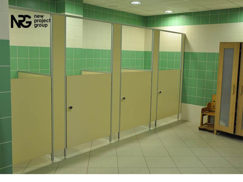 Сантехнические перегородки без дверей для детских садов