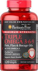 Puritans Pride Maximum Strength Triple Omega 3-6-9 Fish, Flax & Borage Oils 120softgels