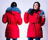 Женская зимняя куртка-парка с мехом