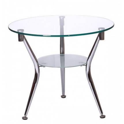 Журнальный стол KSD-CT-007 каркас хром, прозрачное стекло, фото 2
