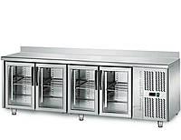 Стол холодильный для напитков 2,2mx0,7m с 4 стеклянными дверями с окантовкой KTS227A#G4