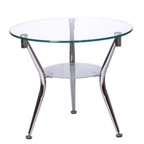 Журнальный стол KSD-CT-007 каркас хром, прозрачное стекло.