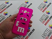 Объемный 3D силиконовый чехол для Samsung Galaxy J3 J300  M&M's розовый