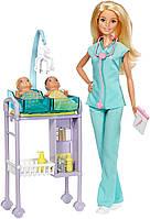 Набор кукла Барби Блондинка доктор с двумя малышами Barbie