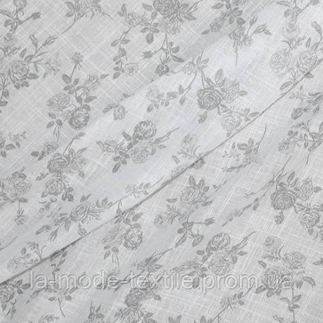 Тюль лен принт белый фон серые розочки