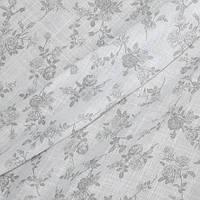 Тюль лен принт белый фон серые розочки, фото 1