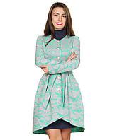 Пальто женское из неопрена мятного цвета