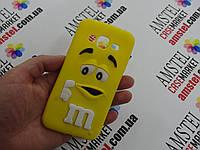 Объемный 3D силиконовый чехол для Samsung Galaxy J3 J300  M&M's желтый