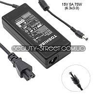Блок питания для ноутбука Toshiba Satellite U205-S5044, U200-ST2091, R25-S3503, R25-S3513 15V 5A 75W 6.3х3.0