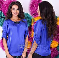 Легкая   шелковая  блузочка с брошью, цвет электрик. Арт-9303/41