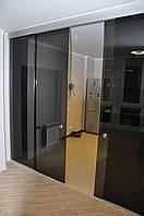 Стеклянные двери раздвижные двухстворчатые