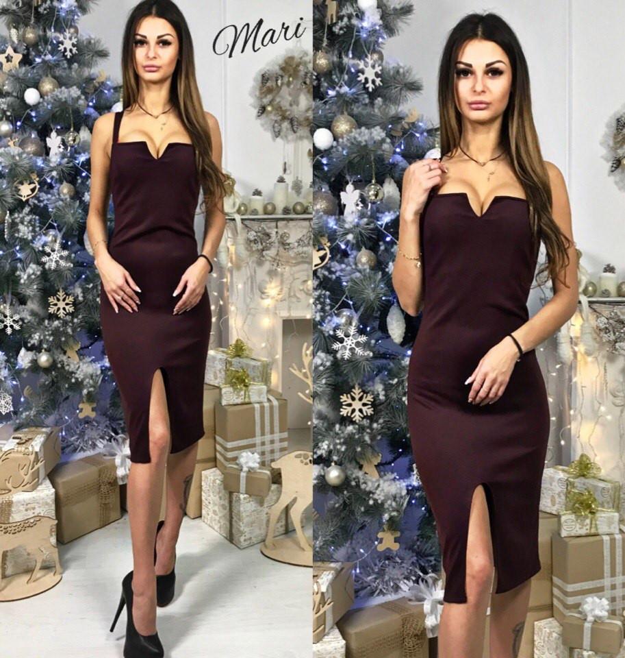 6b74dab33173927 Платье-футляр с декольте и разрезом спереди дайвинг 4 цвета 2SMmil955