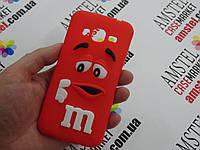 Объемный 3D силиконовый чехол для Samsung Galaxy J3 J320  M&M's красный