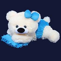 Плюшевая мишка Малышка белый с голубым