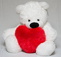Мягкая игрушка мишка Бублик 65 см белый Мишка с сердцем