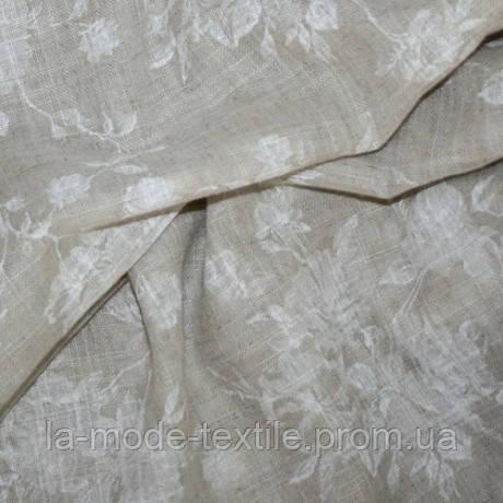 Тюль лен принт белый Бруни розочки белые