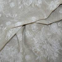 Тюль лен принт белый Бруни розочки белые, фото 1