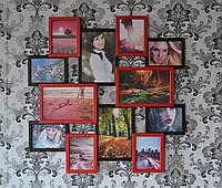 Деревянная мультирамка на 12 фото Путешествие Большое, красно - черное