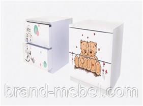 Прикроватная тумбочка с двумя ящиками с фотопечаттю