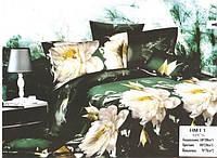 """Комплект постельного белья полуторный  3D сатин """"Пионы на зеленом"""""""