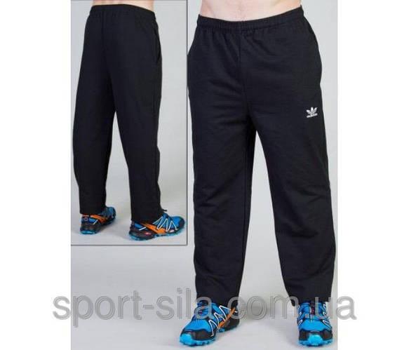 Спортивные штаны больших размеров Адидас (Adidas)мужские трикотажные черные баталы Украина