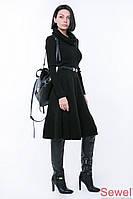 Вязаное черное платье клеш