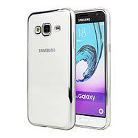 Чехол силиконовый прозрачный на Samsung A300 Galaxy A3 (2015) серебряный