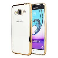 Чехол силиконовый прозрачный на Samsung A300 Galaxy A3 (2015) золотой