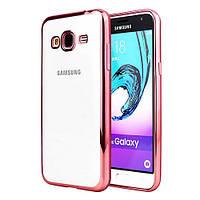 Чехол силиконовый прозрачный на Samsung A300 Galaxy A3 (2015) розовый