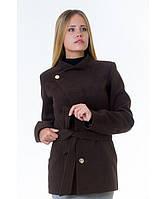 Пальто женское модель №13 гусарик шоколадное (весна/осень), р.40-48