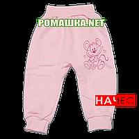 Штанишки на широкой резинке с начесом р. 68 ткань ФУТЕР 100% хлопок ТМ Алекс 3179 Розовый