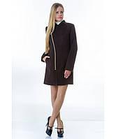 Пальто женское модель №12 2 декор шоколадное (весна-осень), р.40-48