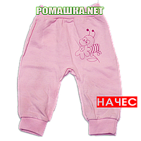 Штанишки на широкой резинке с начесом р. 62 ткань ФУТЕР 100% хлопок ТМ Алекс 3179 Розовый
