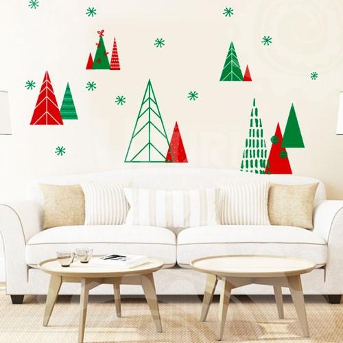 Новогодняя интерьерная наклейка Зимний лес (пленка стикер для декора окон, стен, Елочки, елки)