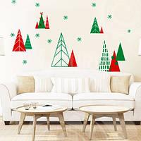 Новогодняя интерьерная наклейка Зимний лес (пленка стикер для декора окон, стен, Елочки, елки), фото 1