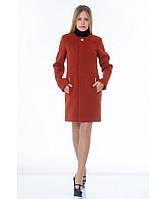 Пальто женское модель №11 без ворота рыжее (весна/осень), р.40-48