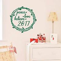 Интерьерная наклейка Рождественский венок  (декор стен, наклейки на обои, стены, окна, офисы)