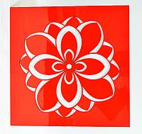 """Панно красное """"Большой белый цветок лотоса"""""""