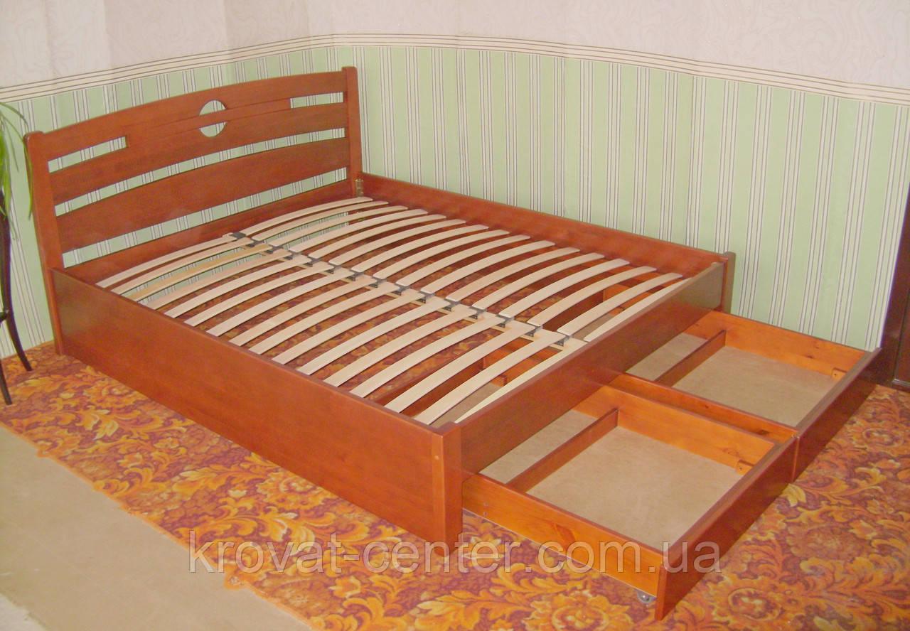 """Двуспальная деревянная кровать с выдвижными ящиками """"Сакура"""""""