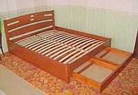"""Кровать полуторная с ящиками """"Сакура"""". Массив - сосна, ольха, береза, дуб."""