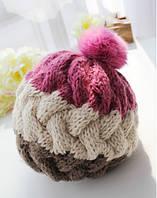 Модная женская вязанная шапка берет с помпоном розового цвета
