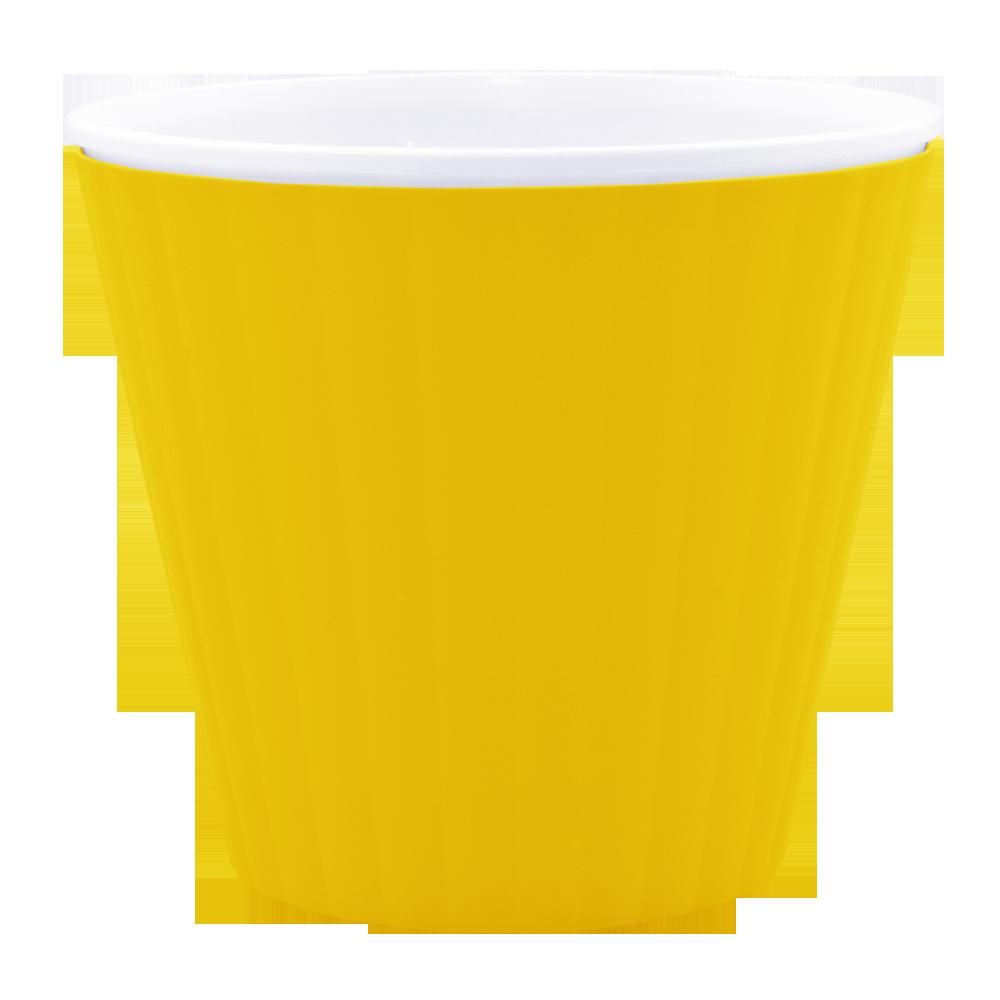 """Вазон """"Ибис"""" с двойным дном 15,7*13 (темно-желтый/белый)"""