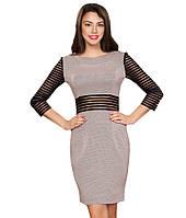 Платье трикотажное бежевого цвета