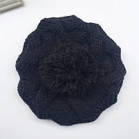 Модная женская зимняя вязанная шапка берет с помпоном черного цвета